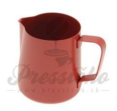Kanvička na napenenie mlieka teflónová, červená