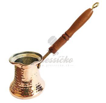 Ručne tepaná medená džezva s drevenou rúčkou